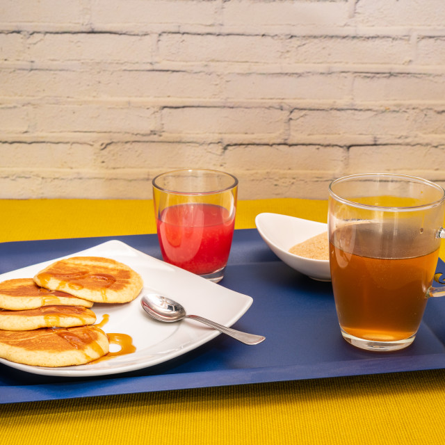 """""""Breakfast with maple syrup pancakes"""" stock image"""