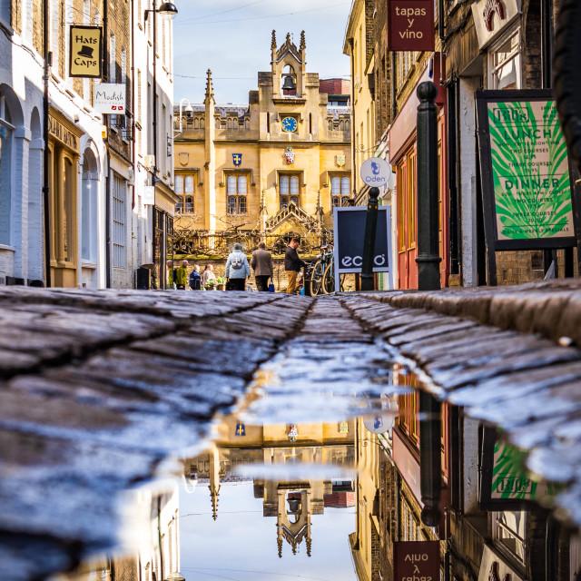 """Reflections, Sidney Sussex College, University of Cambridge UK."" stock image"