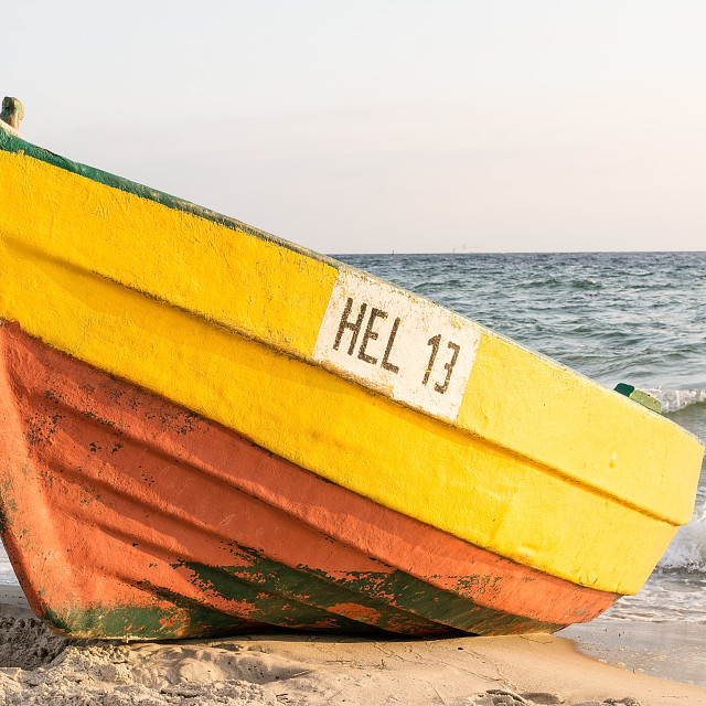 """""""Wooden boat on the beach in Hel (Poland)"""" stock image"""
