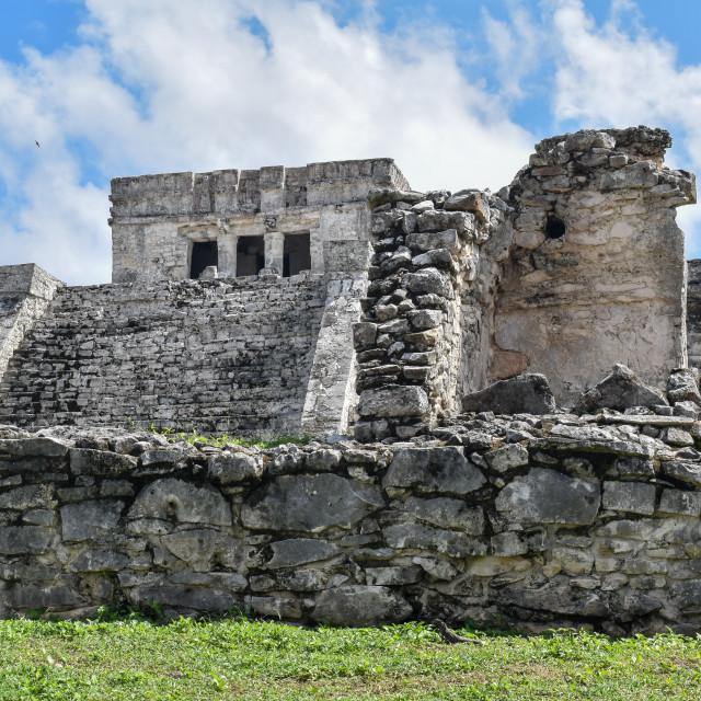 """Mayan temples in Tulum, Quintana Roo"" stock image"