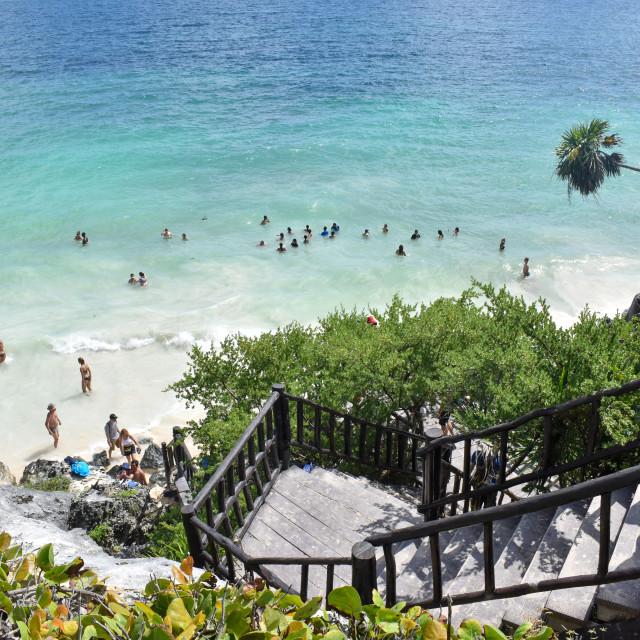 """The Caribbean Sea at Tulum's Mayan ruins"" stock image"