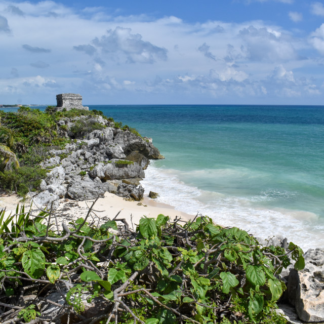 """Beautiful seascape with Mayan ruins"" stock image"