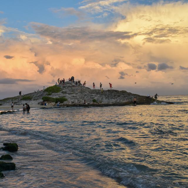 """""""Caribbean sunset on Tulum Beach"""" stock image"""
