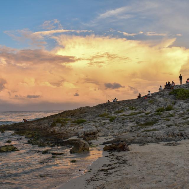 """Tulum beach at sunset"" stock image"
