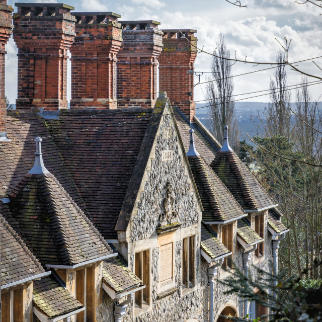 """Rooftop Chimneys"" stock image"