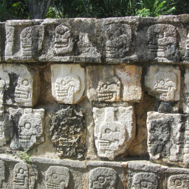 """Skull wall carving at Chichen Itza"" stock image"