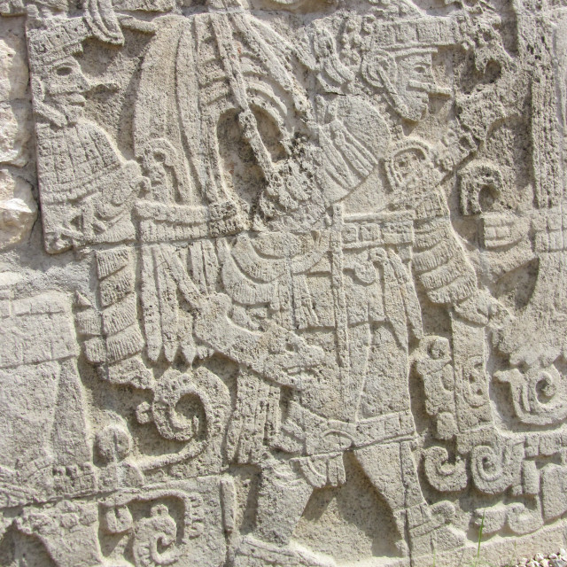 """""""Mayan wall relief at Chichen Itza"""" stock image"""