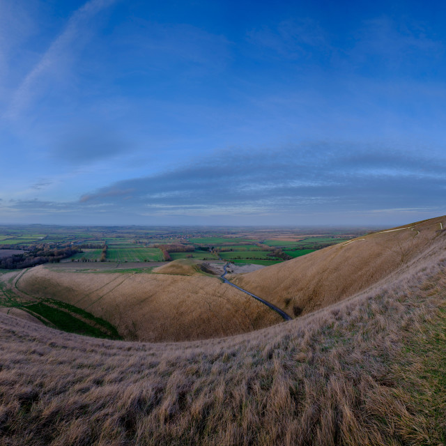 """Views over the White Horse at Uffington on the Ridgeway"" stock image"