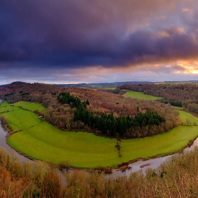 """Sunrise over the River Wye from Symonds Yat Rock"" stock image"