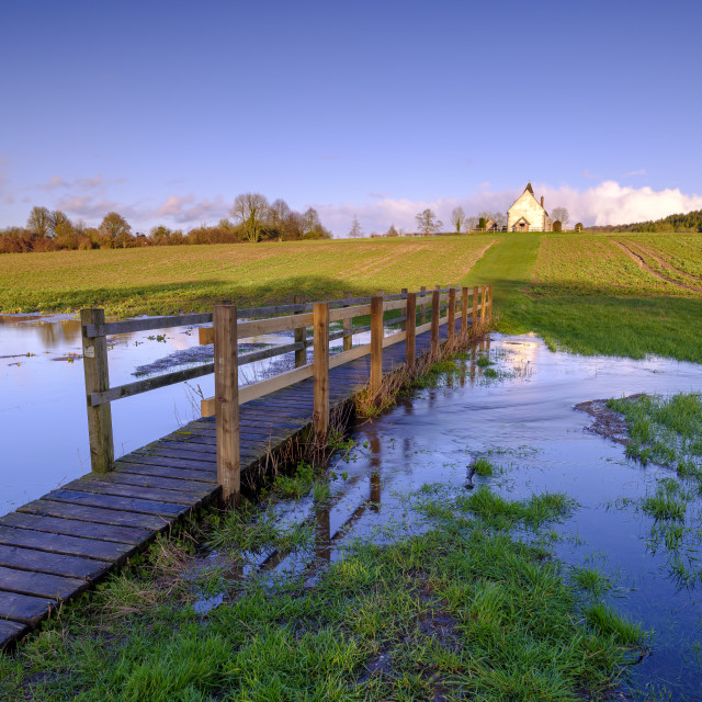 """The flooded fields of St Hubert's Church at Idsworth, Hampshire"" stock image"