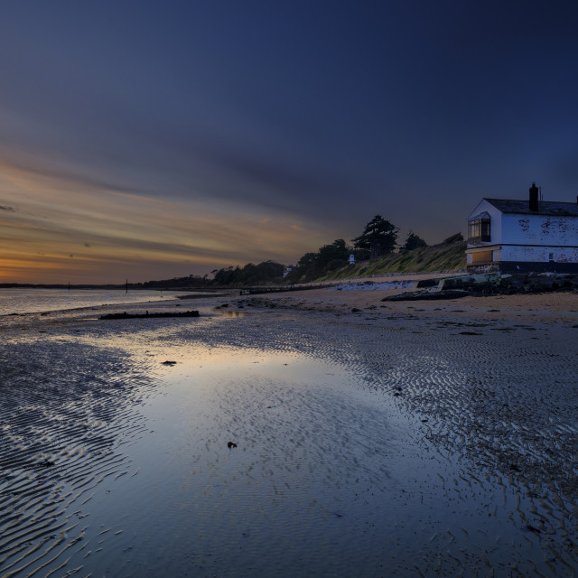 """Sunset on the Coast Guard Watch house at West Lepe in the New Fo"" stock image"