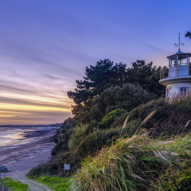 """Sunset on the Millenium Light House at West Lepe in the New Fore"" stock image"