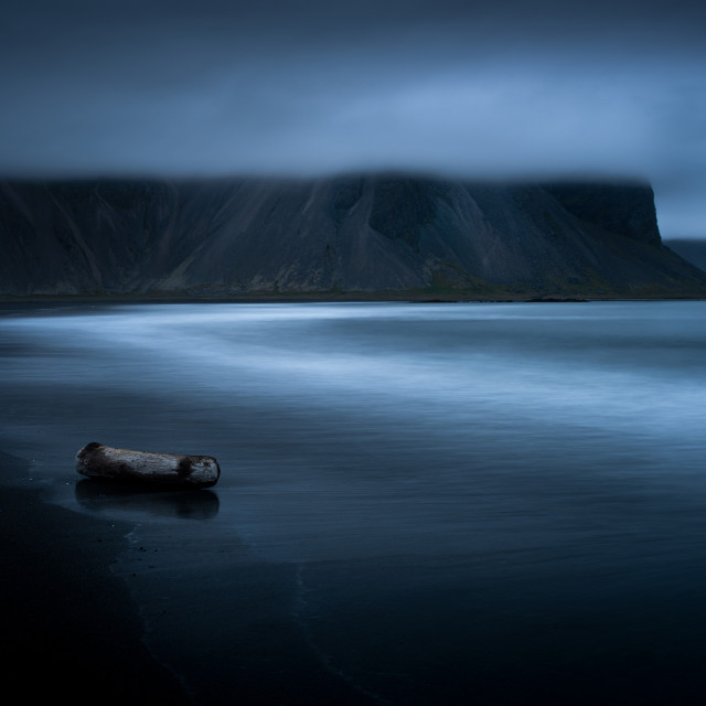 """Dramatic scene on Stokksnes beach in Iceland. View to Vestrahorn"" stock image"