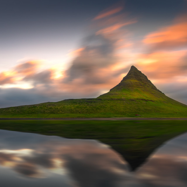 """Beautiful sunset over the Kirkjufell mountain."" stock image"