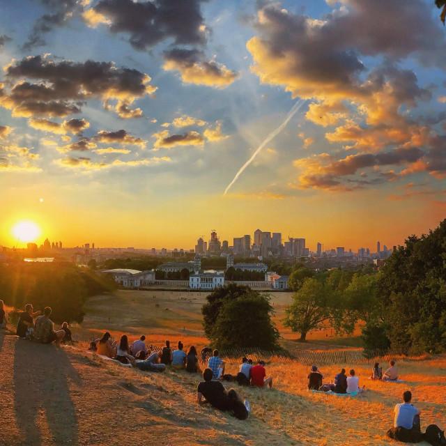 """Greenwich Summer Sunset"" stock image"