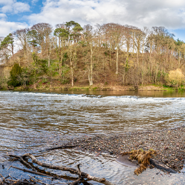 """River Teviot Panorama, Scottish Borders, UK"" stock image"