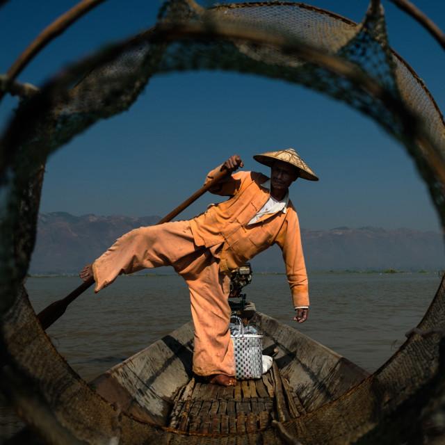 """Fisherman on Inle"" stock image"