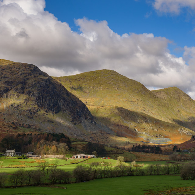 """""""Hartrigg farm and the head of Kentmere"""" stock image"""