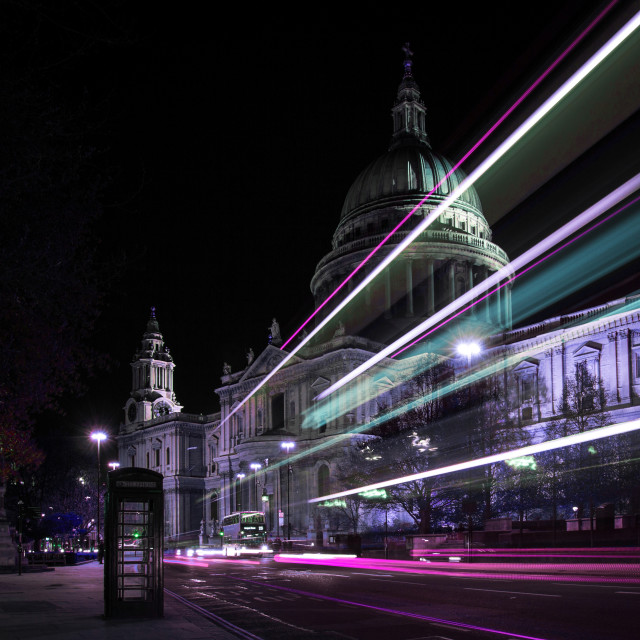 """St Paul's Cathedral at night in cyberpunk colours"" stock image"