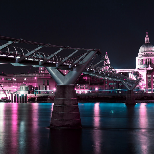 """St Paul's Cathedral and the Millennium Bridge at night in cyberpunk colours"" stock image"