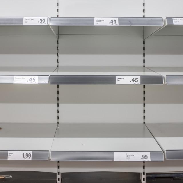 """Coronavirus Empty Supermarket Shelves"" stock image"