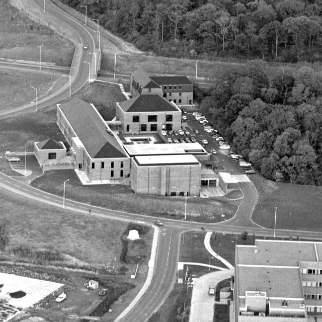 """Thorpe Wood Police HQ (1979)"" stock image"