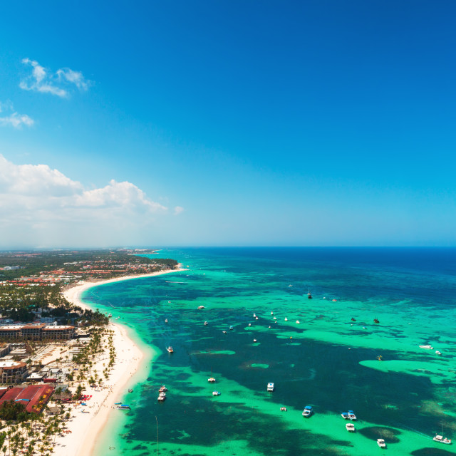 """Aerial view from the plane over Punta Cana, Dominican Republic"" stock image"