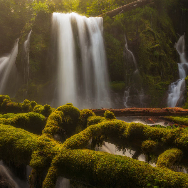 """""""Colorful and mossy waterfall"""" stock image"""
