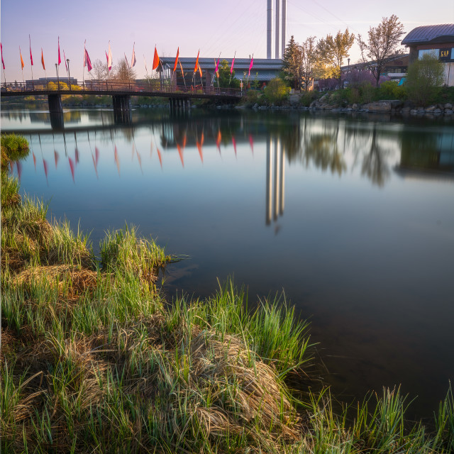 """""""Reflection in the Deschutes River - Bend Oregon"""" stock image"""