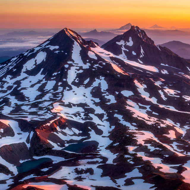 """""""Colorful mountain Sunrise in the Cascade Mountains"""" stock image"""