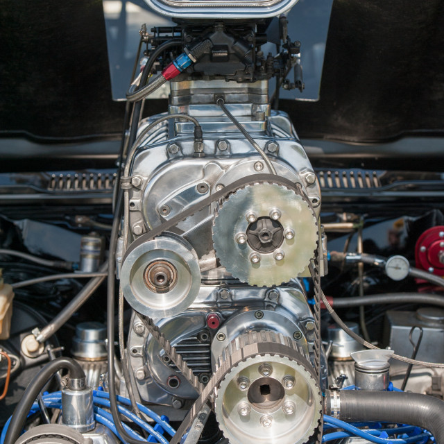 """supercharged racing vehicle engine detail"" stock image"