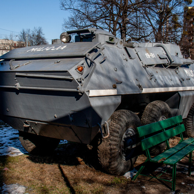 """""""Milicja Armoured Car Exhibit at The Solidarity Museum, Gdansk, Poland"""" stock image"""