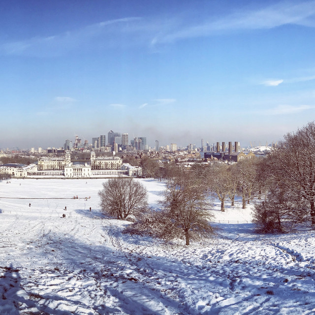 """""""Greenwich in the snow"""" stock image"""