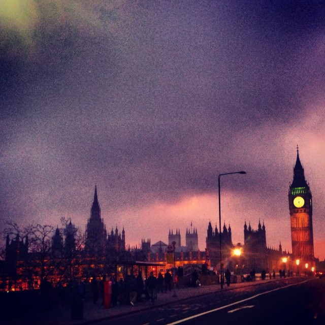 """""""Autumnal Evening over Westminster"""" stock image"""