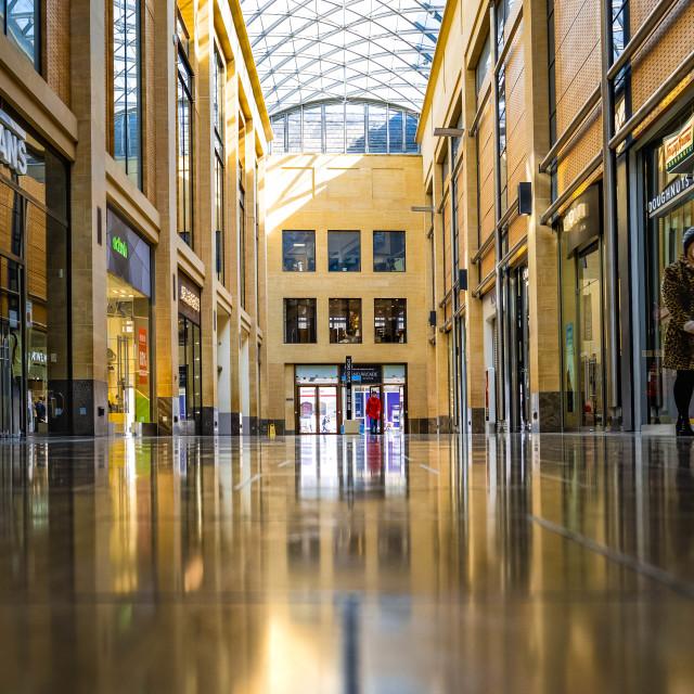 """""""Reflection, Grand Arcade Cambridge UK."""" stock image"""