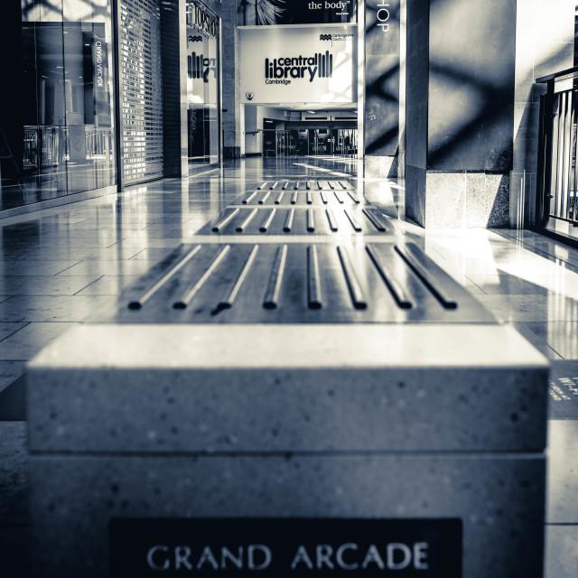 """""""Empty Seat, Grand Arcade Cambridge UK."""" stock image"""