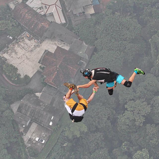 """""""BASE jump event held at KL Tower Kuala Lumpur"""" stock image"""