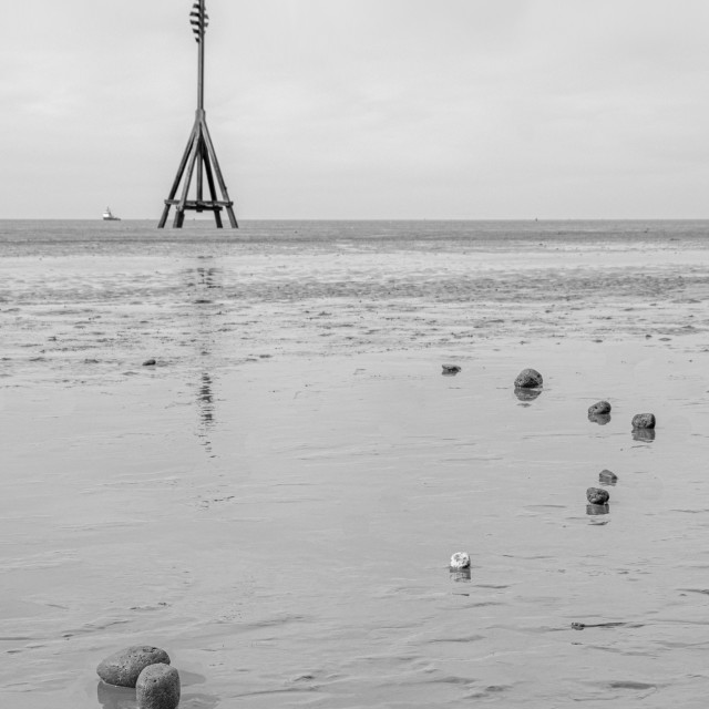 """""""Cable Marker and Pebbles, Crosby Beach"""" stock image"""