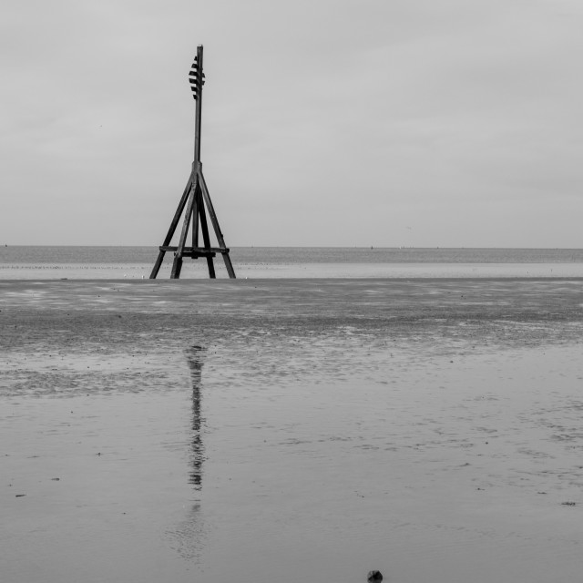 """""""Cable Marker, Crosby Beach"""" stock image"""