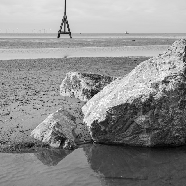 """""""Rocks and Cable Marker, Crosby Beach"""" stock image"""