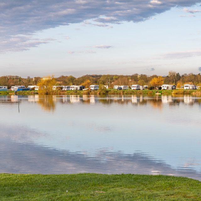 """Lakeside Caravans at Ellerton Park, Yorkshire, England"" stock image"