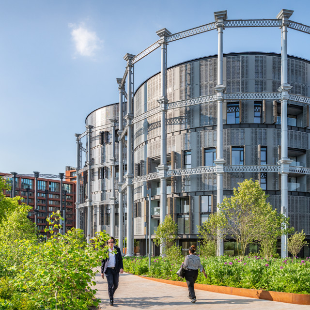 """Gasholders Apartment Building, St Pancras"" stock image"