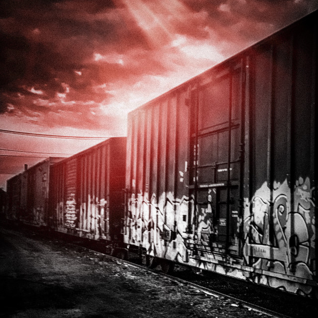 """Train cars with lights"" stock image"