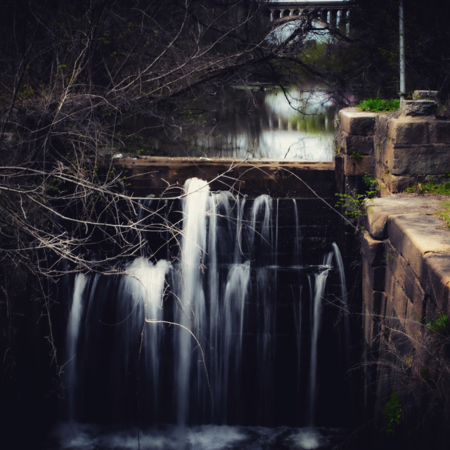 """Waterfall at pumphouse park"" stock image"