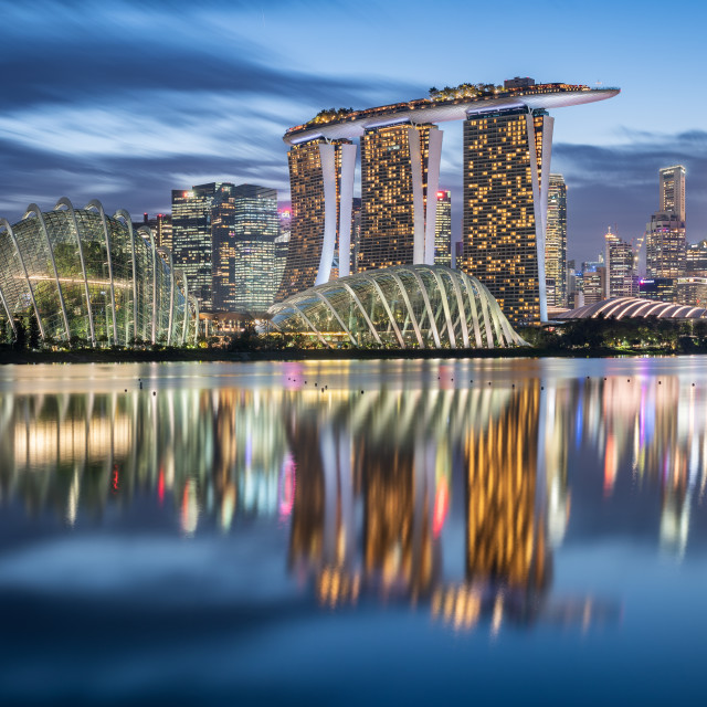 """""""Singapore skyline at the blue hour"""" stock image"""