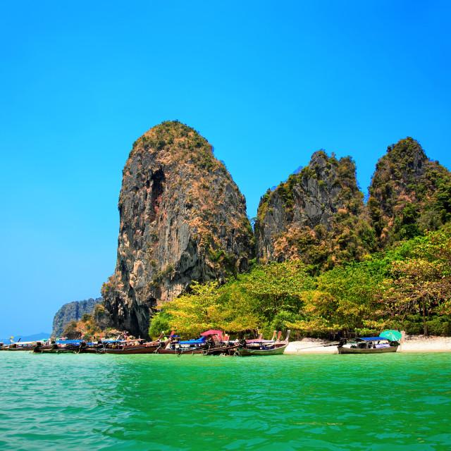 """""""Longtail boats at Phra Nang beach, Krabi province, Thailand."""" stock image"""