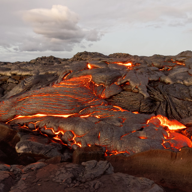 """""""Hawaii - lava emerges from a column of the earth"""" stock image"""