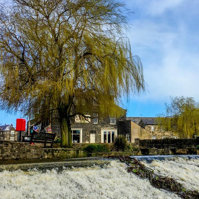 """Silsden Beck Cascading over the Weir in Silsden (Cobbydale), West Yorkshire"" stock image"