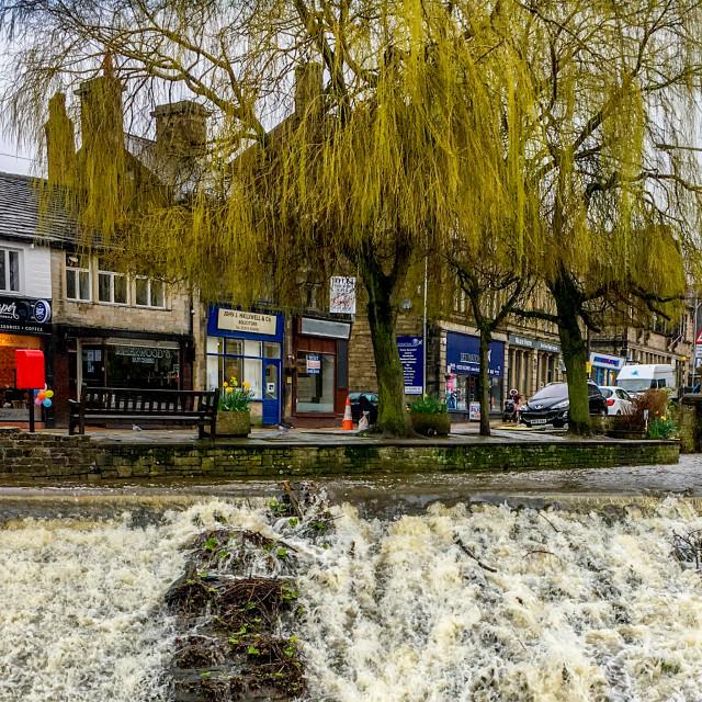 """Silsden Beck Cascading over the Weir in Silsden, (Cobbydale) West Yorkshire"" stock image"