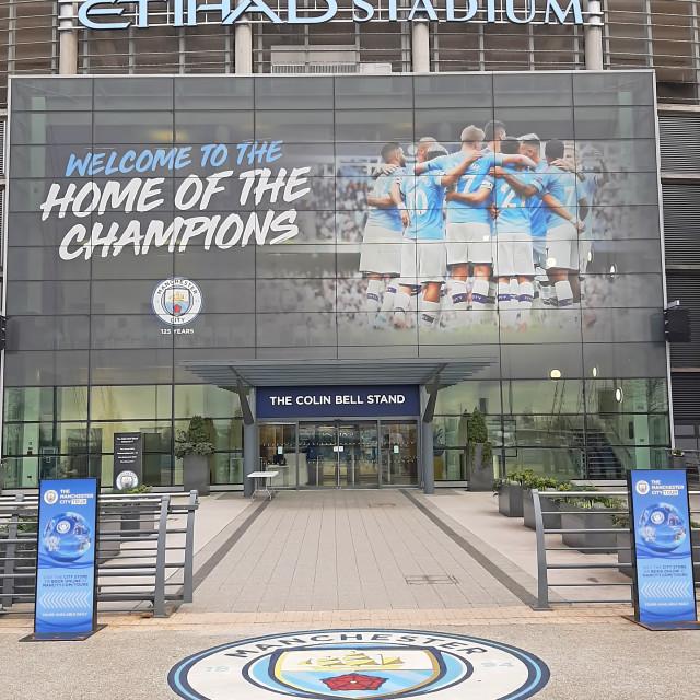 """""""Etihad Stadium entrance and logo"""" stock image"""